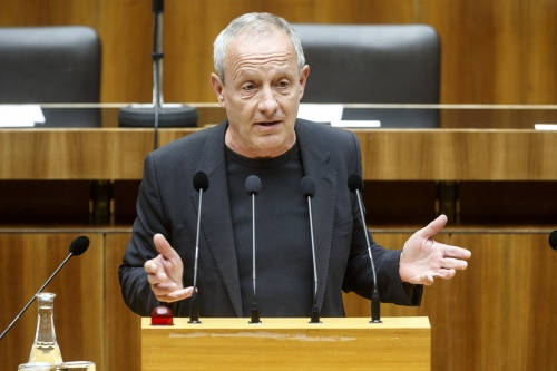 Nationalratsabgeordneter Peter Pilz (G) am Rednerpult