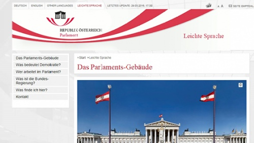 Homepage des Parlaments in leichter Sprache