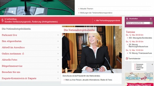 Website Profil von Nationalratspräsidentin Doris Bures  (S)