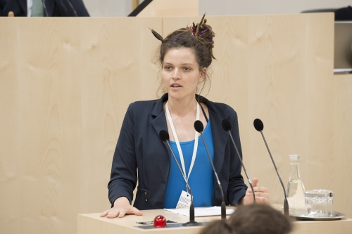 Am Rednerpult: System Change not Climte Change Laura Grossmann