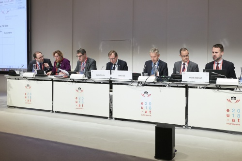 Chair of the EU Committee of the Federal Council Christian Buchmann (V) (4th from left), Chair of Permanent Subcommittee on EU Affairs of the National Council Reinhold Lopatka (V) (4ht from right