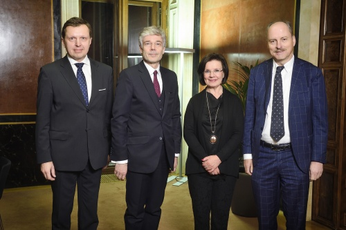 Meeting of the Secretaries General of the Troika. From left: Secretary General of the Riigikogu Peep Jahilo , Secretary General of the Austrian Parliament Harald Dossi, Secretary General of the Parliament of Finland Maija-Leena Paavola, Secretary General European Parliament Klaus Welle