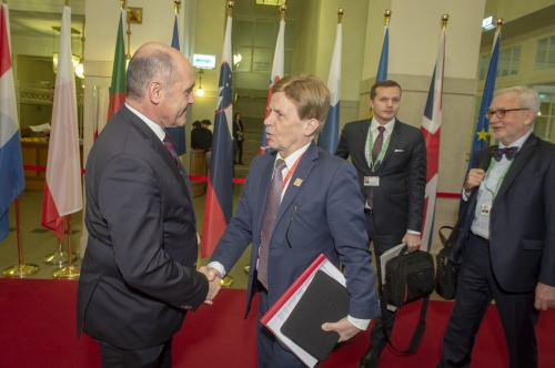 From Left: President of the Austrian National Council Wolfgang Sobotka,Deputy Speaker Finland Mauri Pekkarinen