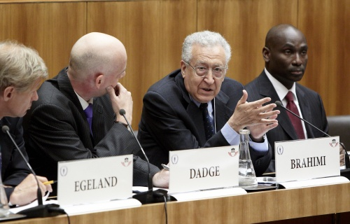 v.li.:Jan Egeland - Director Norwegian Institute of International Affairs, David Dadge - Director International Press Institute, Lakhdar Brahimi - Former UN Special Adviser und Abiodun Williams - Vice-President Center for Conflict Analysis and Prevention, United States Institute of Peace