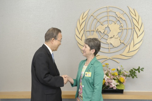 Nationalratspräsidentin Barbara Prammer trifft UN-Generalsekretär Ban Ki-moon in New York